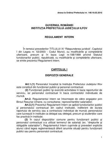 Regulament intern - Prefectura Ilfov