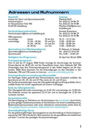 ISSSW_Sportprogramm SS 2006 - Hochschulsport - Uni.hd.de