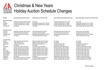 Christmas & New Years Holiday Auction Schedule Changes