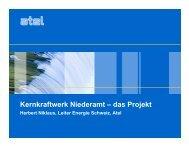 Kernkraftwerk Niederamt – das Projekt - Über die KKN AG