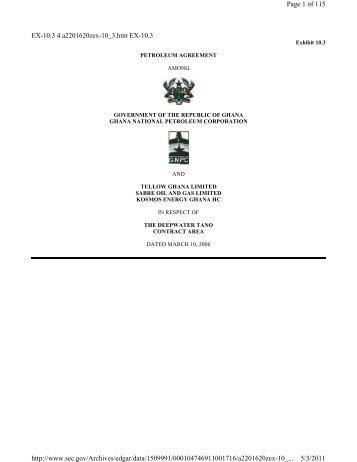 Tullow Petroleum Agreement – Deepwater Tano ... - Ghana Oil Watch