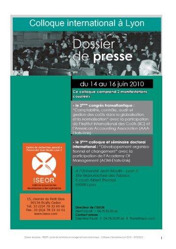 Dossier de presse - ISEOR - centre de recherches en management ...