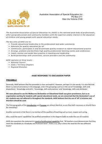 Australian Association of Special Education Inc. - Australian Institute ...