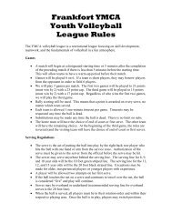 Frankfort YMCA Youth Volleyball League Rules
