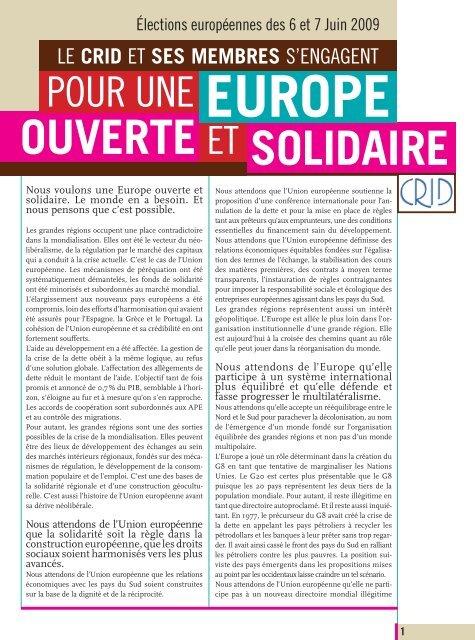 Elections européennes 2009 - Crid