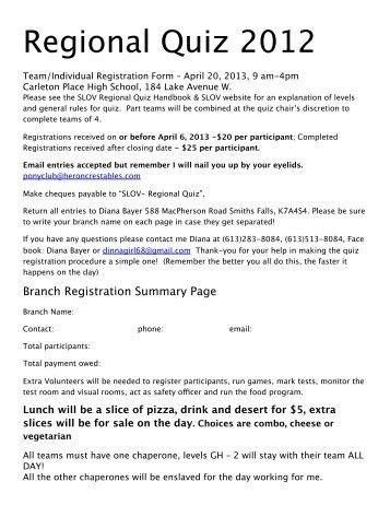 Regional Quiz 2013 Team Registration Form - Canadian Pony Club