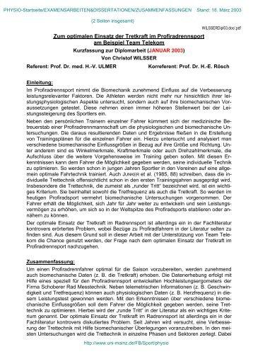 WILSSER, Christof: Zum optimalen Einsatz der Tretkraft im