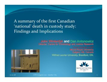 A summary of the first Canadian 'national' death in custody study ...