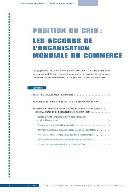 POSITION DU CRID : LES ACCORDS DE L'ORGANISATION ...
