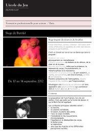 Stage de Butô(s) Du 10 au 14 septembre 2012 - Ecole du jeu