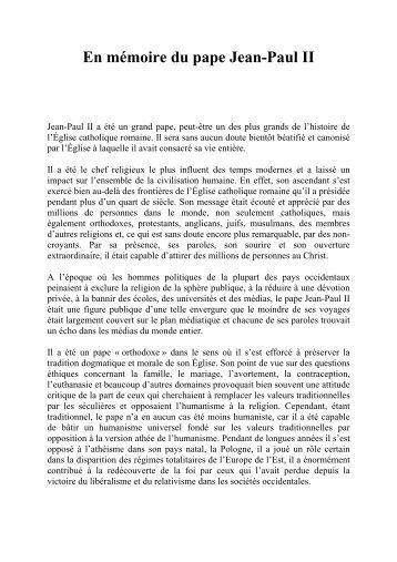 En mmoire du pape Jean-Paul II - Orthodoxie