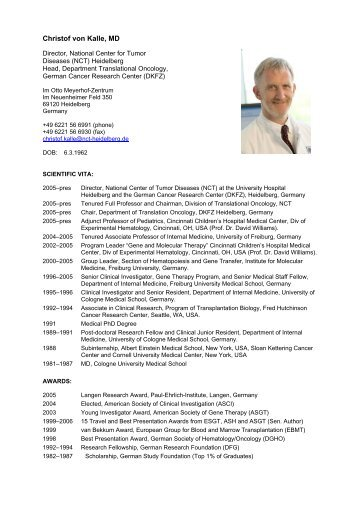 Christof von Kalle, MD - CellNetworks