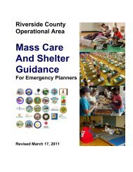 Mass Care and Shelter Guidance for Emergency ... - Moreno Valley