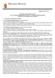 Tájékoztató szülők és diákok számára - Oktatási Hivatal