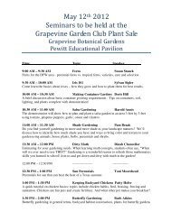 May 12th 2012 Seminars to be held at the Grapevine Garden Club ...