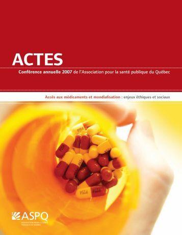 ACTES Conférence annuelle 2007 - Association pour la santé ...