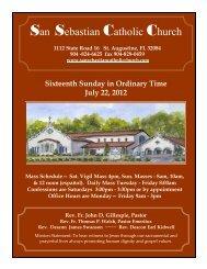 Week of July 22, 2012 - San Sebastian Catholic Church