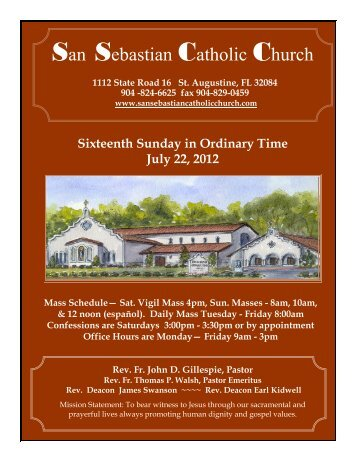 Week of July 22, 2012 - San Sebastian Catholic Church
