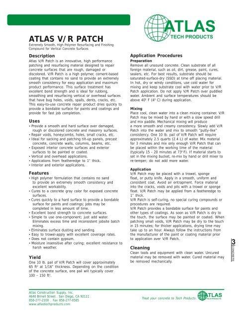 ATLAS V/R PATCH - Atlas Construction Supply, Inc