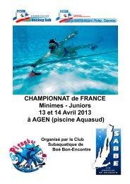 CHAMPIONNAT de FRANCE Minimes - Juniors ... - sabbe47plongee