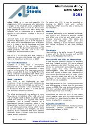 Aluminium Alloy Data Sheet - Atlas Steels