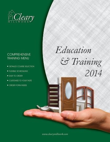 Click for more our complete course catalog - Cleary Millwork