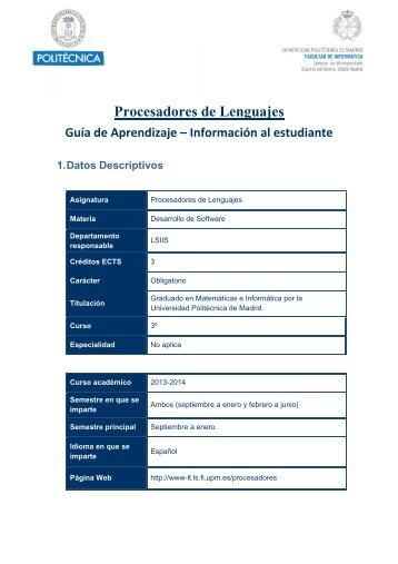Procesadores de Lenguajes - Facultad de Informática de la ...