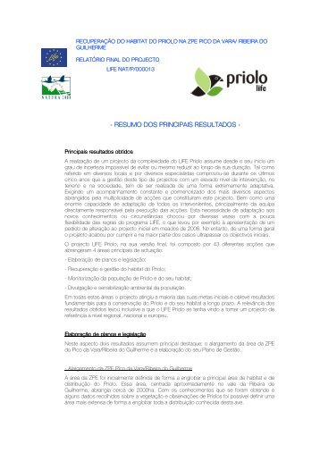 RESUMO DOS PRINCIPAIS RESULTADOS ... - LIFE Priolo - spea