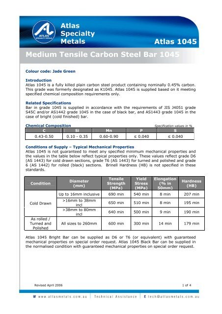 Medium Tensile Carbon Steel Bar 1045 Atlas 1045 Atlas Steels