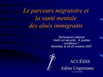 Le parcours migratoire et la santé mentale des aînés immigrants