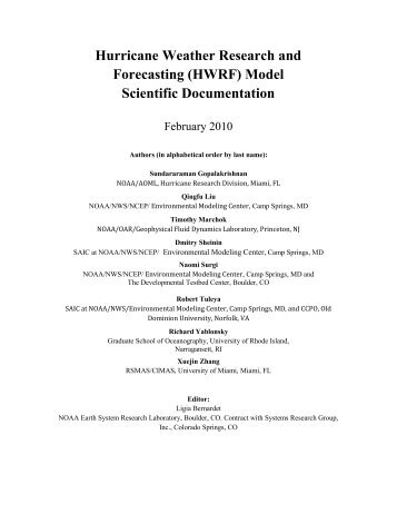Hurricane Weather Research and Forecasting (HWRF) Model ...