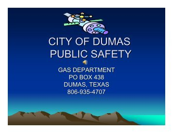 Public Awareness Information Packet - City of Dumas