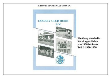 Protokoll der Gründungsversammlung des Hockey Club Horn