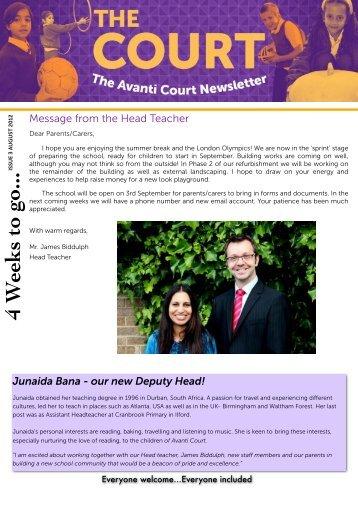 Newsletter August 2012 - Avanti Schools Trust