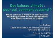 Luc Godbout - Association des économistes québécois
