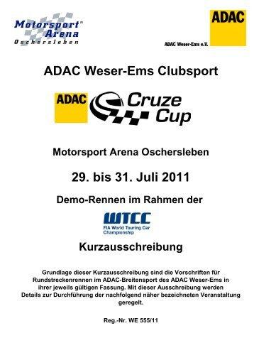 Kurzausschreibung WTCC 29 -31 07 2011 - ADAC Cruze Cup