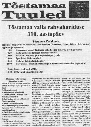 Tõstamaa valla rahvahariduse: . 310. aastapäev