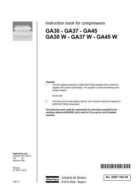 GA30 - GA37 - GA45 GA30 W - Atlas CopcoYumpu