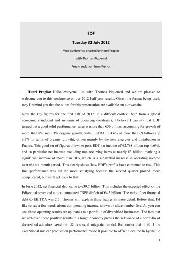 The transcript (PDF, 345 Kb) - Shareholders and investors - EDF