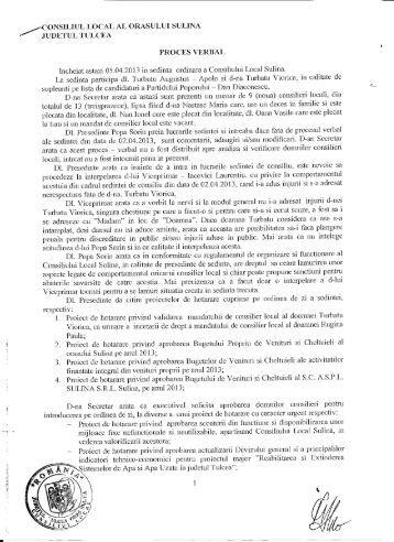 Proces verbal al şedinţei extraordinare a ... - Primaria Sulina