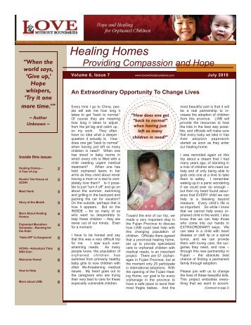 Healing Homes Providing Compassion and Hope - Love Without ...