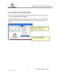 Travis Dealer Services Back Office: - Travis Industries Dealer ...