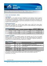 Case Hardening Steel Bar 8620H Atlas 8620H - Atlas Steels