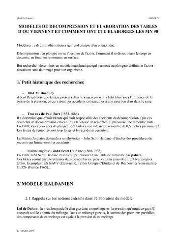 1/ Petit historique des recherches 2/ MODELE HALDANIEN - ffessm