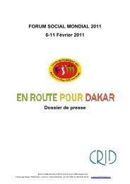 Dossier de presse CRID Forum social mondial 2011