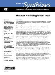Financer le développement local - Organisation for Economic Co ...