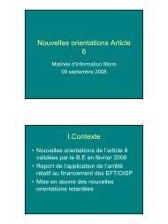 Nouvelles orientations de la politique partenariale du ... - CSEF Mons
