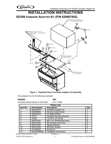 installation instructions ed300 icemaker adapter kit (p/n 629087952)