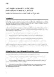 La politique de developpement rural: une politique au service ... - CSA