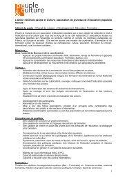 Intitulé du poste : Charg - CRAJEP Île-de-France